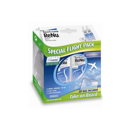 ReNu MPS flight pack solution multifonctions pour lentilles de contact souples flacons 2x60ml + 2 etuis + 1 sac