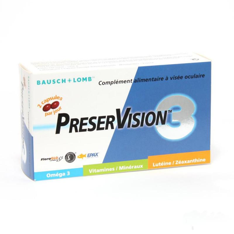 Préservison 3 Complément alimentaire à visée oculaire. Boîte 60 capsules