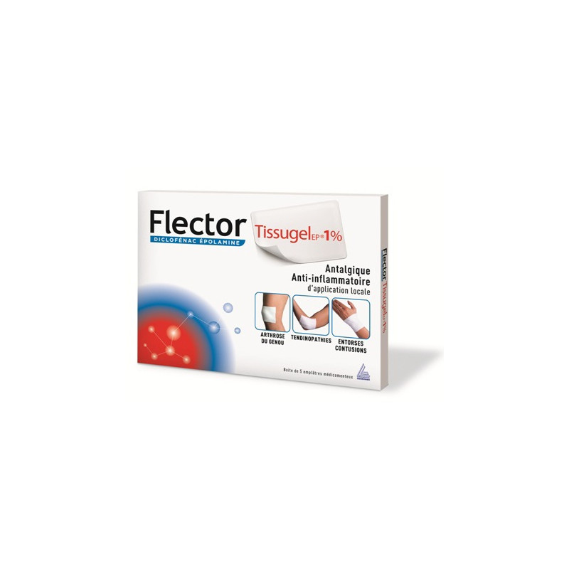 Flector tissu gel 5 emplatres 10cmx14cm