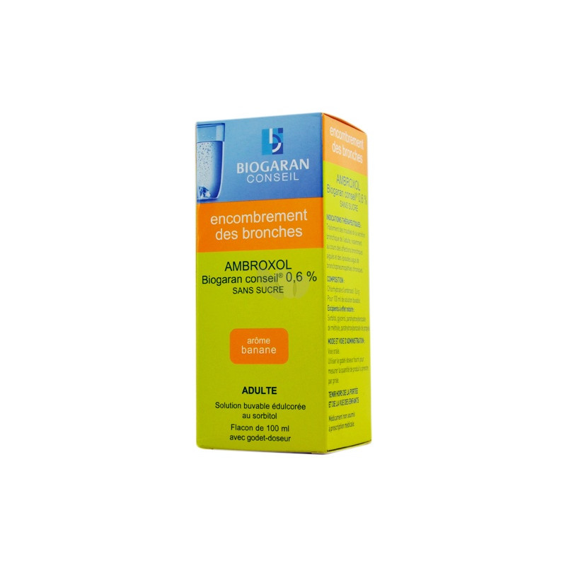 Ambroxol Biogaran solution buvable sans sucre 0,6% 100ml
