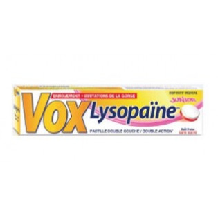 VoxLysopaïne sans sucre fraise boîte 18 pastilles