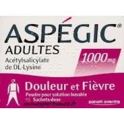 Aspegic 1000mg 15 sachets poudre