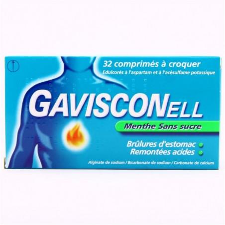 Gavisconell menthe sans sucre 32 comprimés à croquer