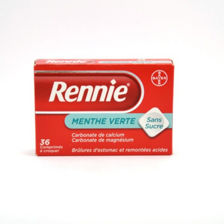 Rennie Menthe verte sans sucre 36 cps à croquer