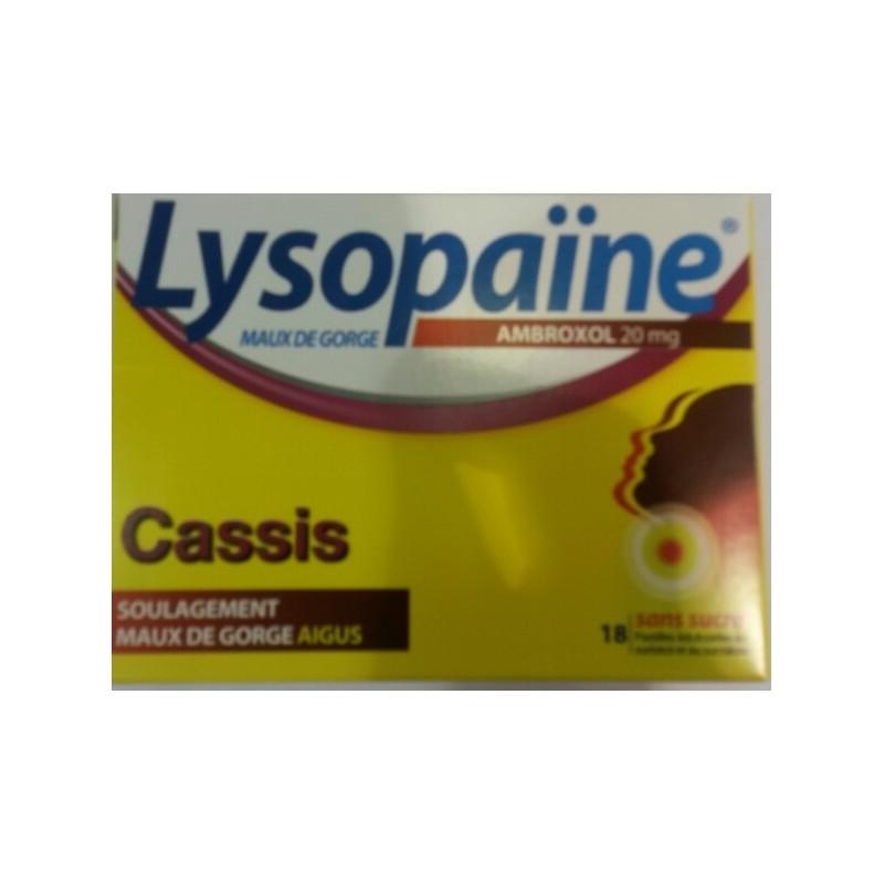 Lysopaine Ambroxol 20mg cassis 18 pastilles sans sucre