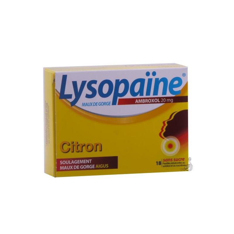 Lysopaine Ambroxol 20mg citron 18 pastilles sans sucre