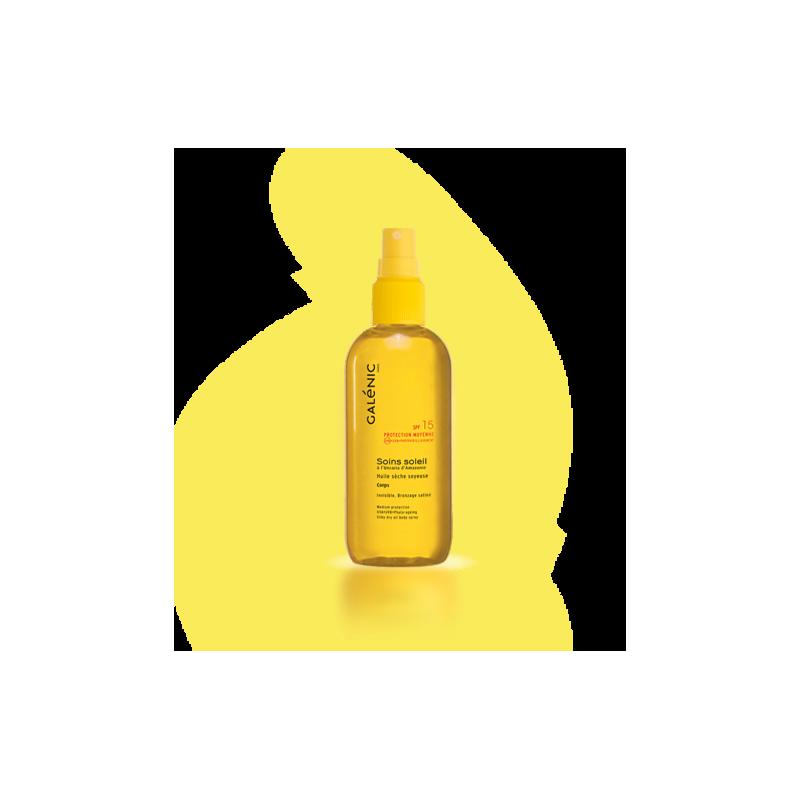 GALENIC SOINS SOLEIL Huile sèche soyeuse SPF15 corps Peaux mates ou déjà bronzées. Spray 150 ml