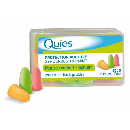 Quies Protection auditive mousse confort 3 paires fluo