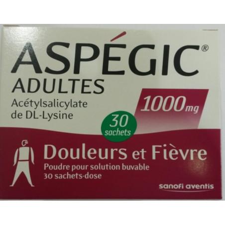 Aspegic 1000mg 30 sachets poudre
