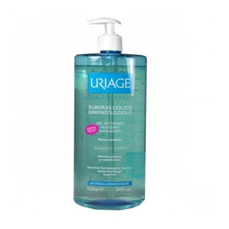 URIAGE Surgras Liquide Dermatologique - Gel Nettoyant Moussant sans savon Visage & Corps flacon 1L