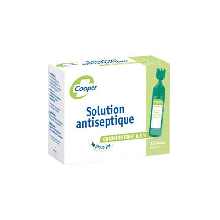 Cooper Solution antiseptique chlorhexidine 0.5% 12 unidoses 5ml