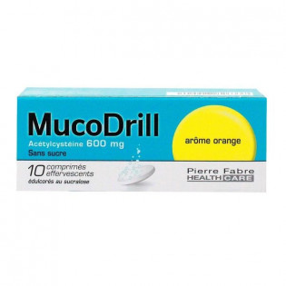 MUCODRILL ACETYLCYSTEINE 600MG 10 CPS EFFERVESCENTS AROME ORANGE