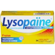 Lysopaïne Fraise sans sucre 36 pastilles à sucer