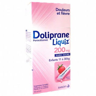 DOLIPRANE LIQUIZ 200MG SANS SUCRE BOITE DE 12 SACHETS