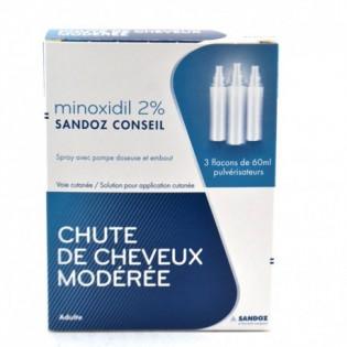 MINOXIDIL 2% SANDOZ 3 FLACONS DE 60ML PULVERISATEURS