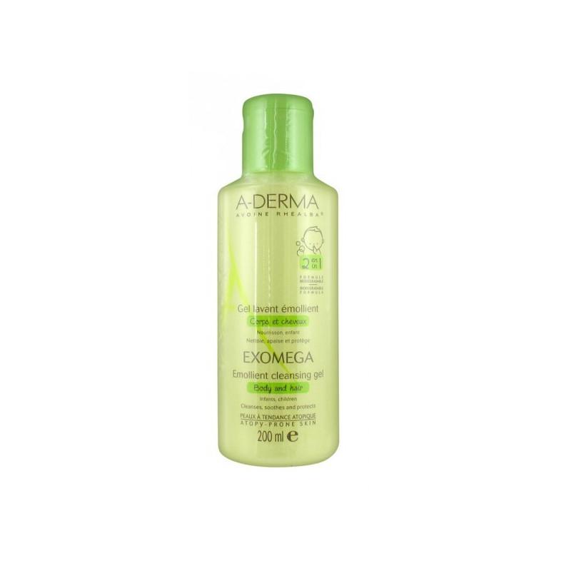 Aderma Exomega Gel lavant émollient corps et cheveux. Flacon 500ML