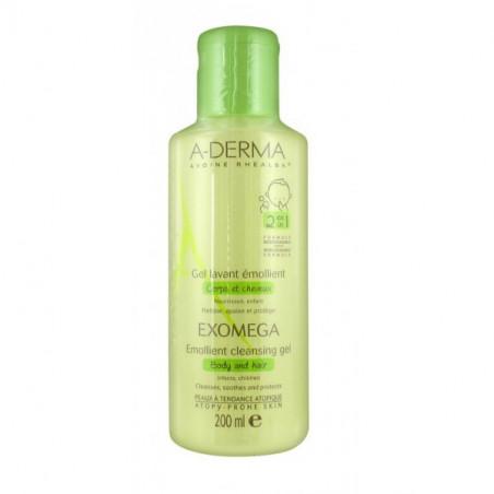 Aderma Exomega Gel lavant émollient corps et cheveux. Flacon 200ML