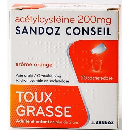 ACETYLCYSTEINE 200MG SANDOZ TOUX GRASSE 20 SACHETS DOSE