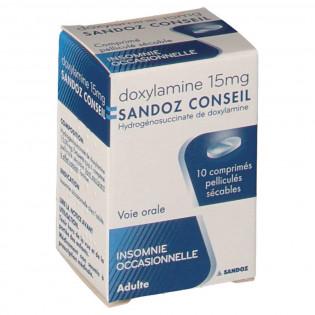 DOXYLAMINE 15MG SANDOZ 10 COMPRIMES PELLICULES SECABLES