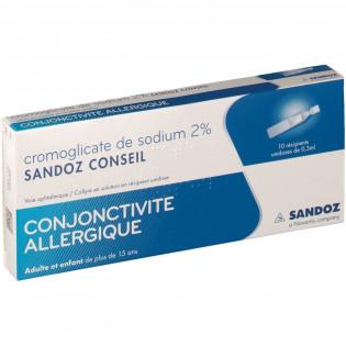 CROMOGLICATE DE SODIUM 2% SANDOZ CONSEIL 10 UNIDOSES