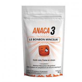 ANACA 3 BONBON MINCEUR 30 BONBONS GOUT COLA, FRAISE ET CITRON