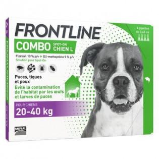 FRONTLINE COMBO SPOT ON CHIEN L 20-40 KG 4 PIPETTES DE 2.68ML