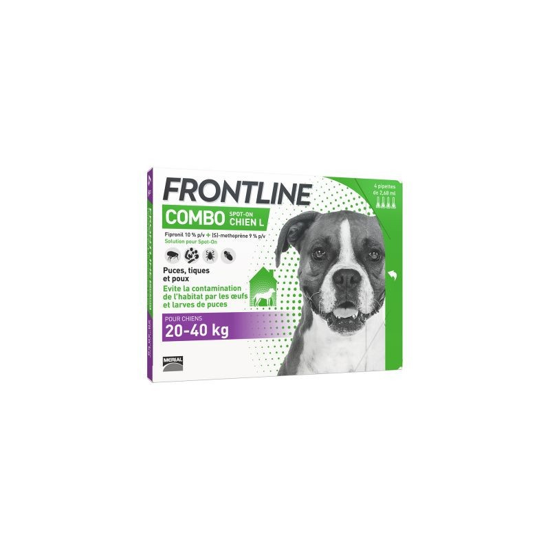 FRONTLINE COMBO SPOT ON CHIEN L 20-40 KG 4 PIPETTES DE 2.68ML
