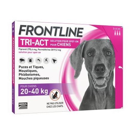 FRONTLINE TRI ACT CHIENS 20-40 KG 3 PIPETTES DE 4ML