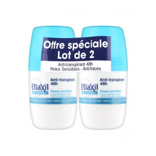 ETIAXIL ANTI TRANSPIRANT 48H PEAUX SENSIBLES ROLL ON LOT DE 2 DE 50ML