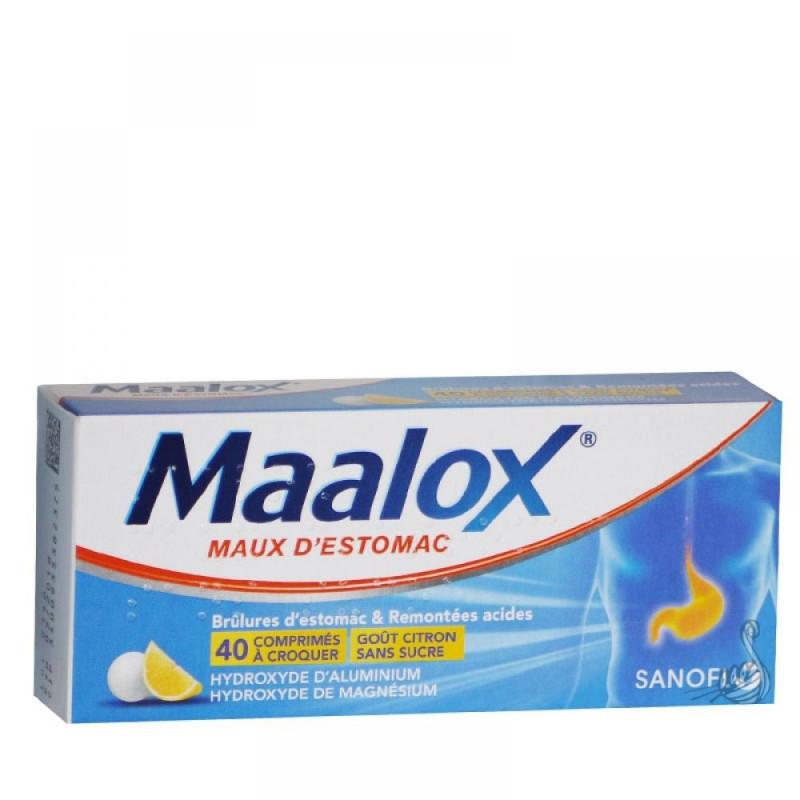 Maalox maux d'estomac sans sucre 40 comprimés à croquer
