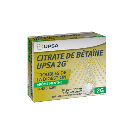 Citrate de Betaïne Upsa 2G MENTHE - 20 comprimés sans sucre effervescents