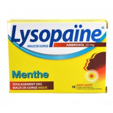 Lysopaine Ambroxol sans sucre menthe 20mg 18 pastilles