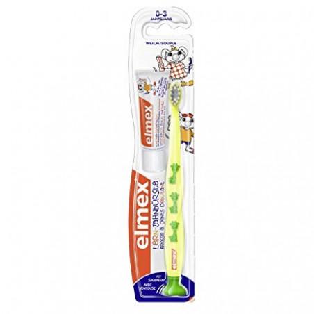 Elmex Brosse à Dents Débutant Souple 0-3 ans + dentifrice 12ml