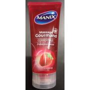 Manix Gel de massage Gourmand Comestible 200ml, Fraise onctueuse. Tube 200ml