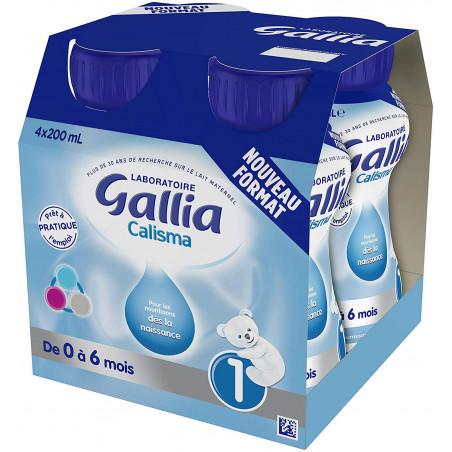 GALLIA CALISMA 1 LAIT PRET A L'EMPLOI DES LA NAISSANCE 0-6 MOIS 4 BOUTEILLES DE 200ML
