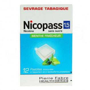 Nicopass 1,5mg 12 pastilles sans sucre menthe fraiche