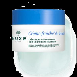 Nuxe Crème Fraîche de Beauté Enrichie - Crème Riche Hydratante et Apaisante 24h Peau sèche, très sèche et Sensible. Pot de 50ML