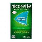 Nicorette Gomme 2mg goût Menthe fraiche sans sucre par 105