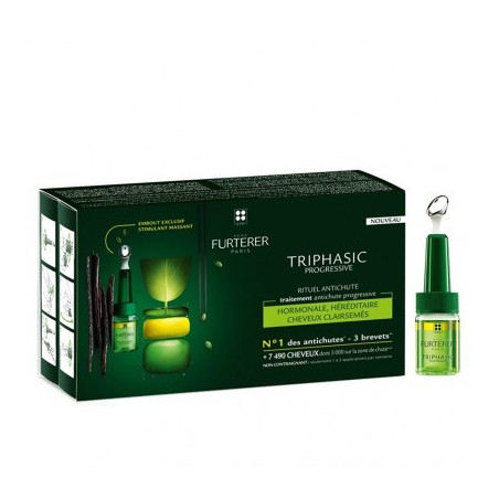 René Furterer Triphasic PROGRESSIVE. Traitement antichute progressive. Coffret de 8 x 5,5 ml