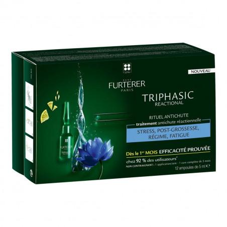 Furterer Triphasic REACTIONAL. Traitement antichute réactionnelle. Coffret 12 ampoules
