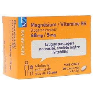 Magnésium vitamine B6 48mg/5mg Biogaran 50 comprimés
