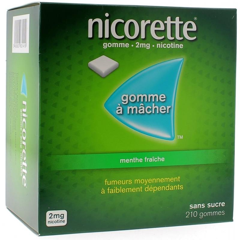 Nicorette Gomme 2mg goût Menthe sans sucre par 210