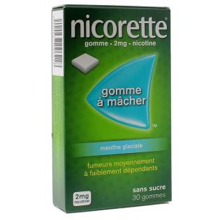 Nicorette Gomme 2mg goût Menthe Glaciale sans sucre par 30