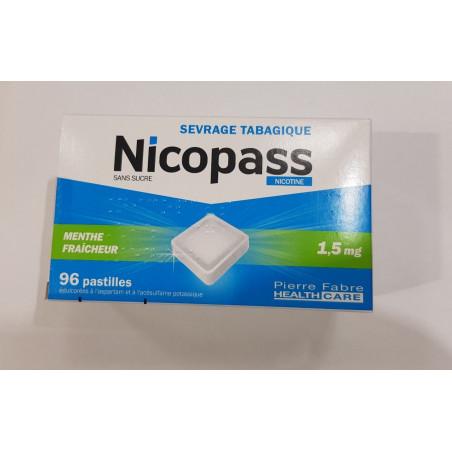 Nicopass 1,5mg 96 pastilles sans sucre menthe fraiche