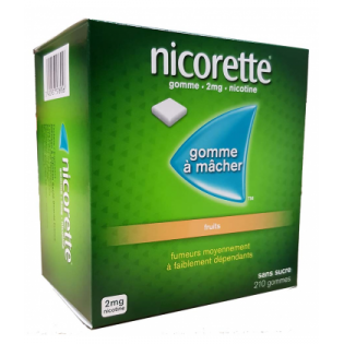 NICORETTE 2MG FRUITs SANS SUCRE 210 GOMMES