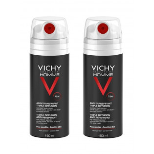 VICHY HOMME Anti-transpirant triple diffusion. Lot de 2 x 150ml