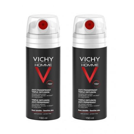 VICHY HOMME Anti-transpirant triple diffusion. Lot de 2 x 150ml