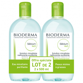 Bioderma Sébium H2O Solution Micellaire. Lot 2x500ML