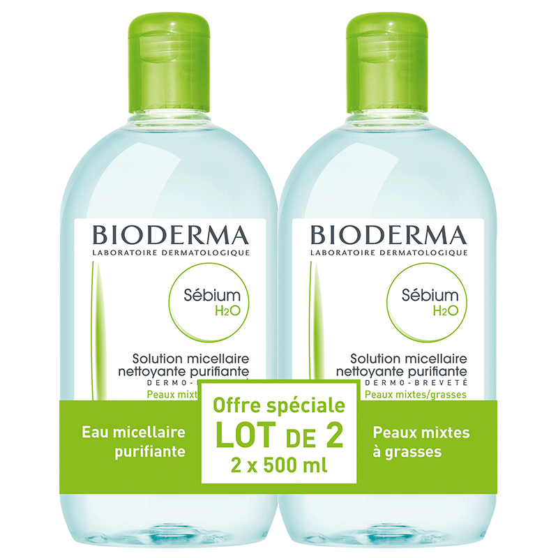 Bioderma Sébium H2O Solution Micellaire. Lot 2x500ML