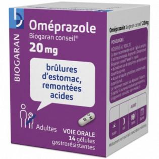 OMEPRAZOLE 20MG 14 GELULES GASTRORESISTANTES BIOGARAN CONSEIL